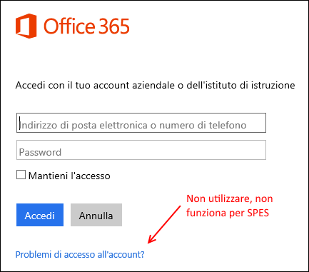 Login a Office 365 per SPES